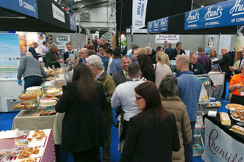 Busy aisles by Hunt's of Cornwall Foodservice at the Expowest Cornwall tradeshow in 2019