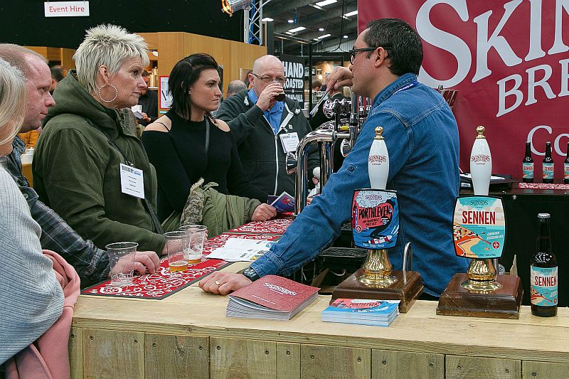 Trying the beer from Skinners Brewery at the Expowest Cornwall trade show 2019