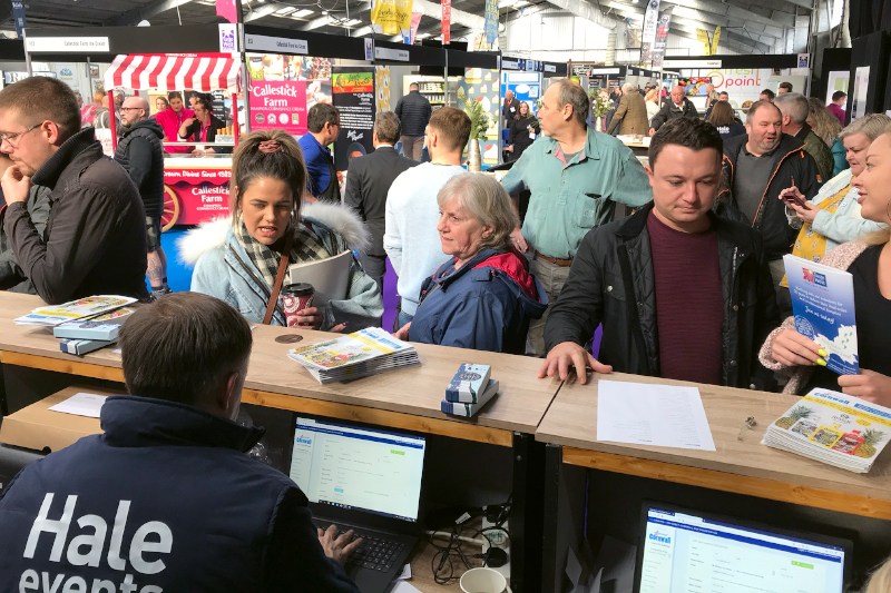 Registration queues for the Expowest Cornwall trade show 2020